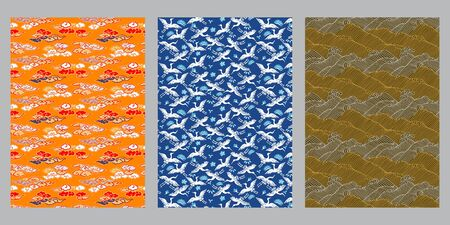 Japanese cloud, heron, ocean wave abstract background