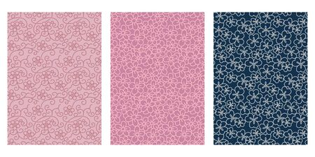 Japanese Line Flower Abstract Vector Background Collection Illustration