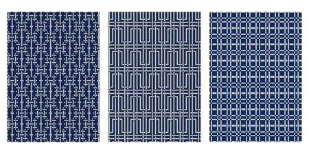 Japanisches Korbgeflecht, Labyrinth, karierte abstrakte Vektor-Hintergrund-Sammlung