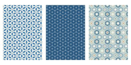 Japanese Hexagon Flower Abstract Vector Background Collection