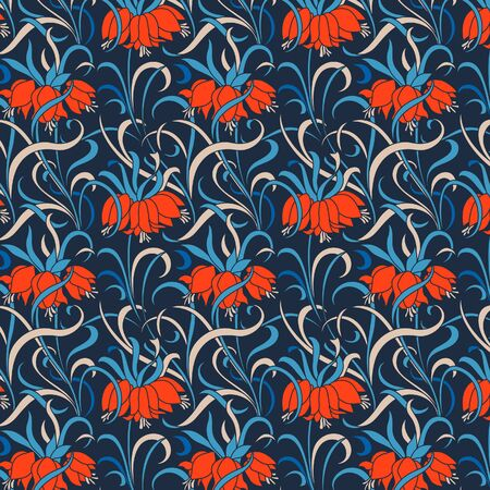 Japanese Wiggle Ivy Red Flower Vector Seamless Pattern