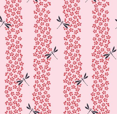 Japanese Cherry Blossom Dragonfly Vector Seamless Pattern