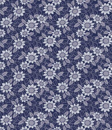 Japanese Chrysanthemum Flower Vector Seamless Pattern