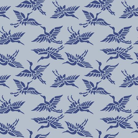 Japanese Crane and Heron Flying Vector Seamless Pattern