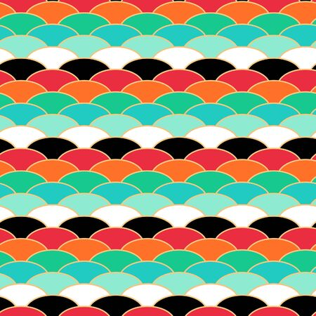 Japanese Dragon Scale Wave Vector Seamless Pattern