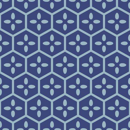 Japanese Hexagon Flower Vector Seamless Pattern
