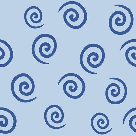 Japanese Spiral Line Vector Seamless Pattern