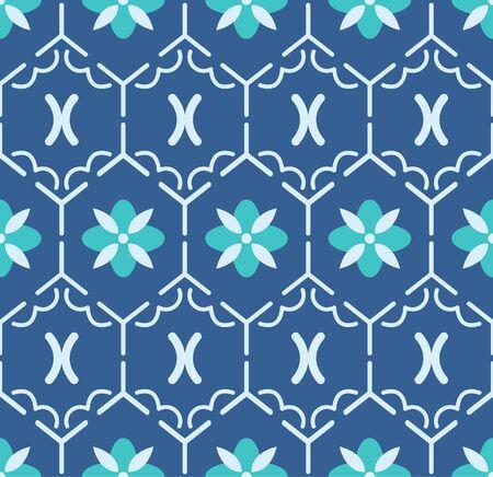 Japanese Blue Hexagon Flower Vector Seamless Pattern 向量圖像