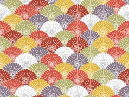 Japanese Colorful Flower Wave Vector Seamless Pattern 向量圖像