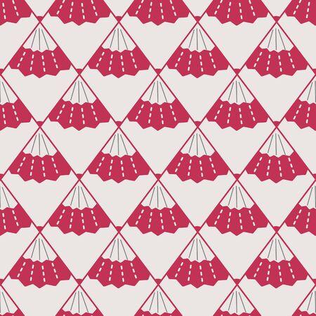 Japanese Fan Diamond Vector Seamless Pattern 向量圖像