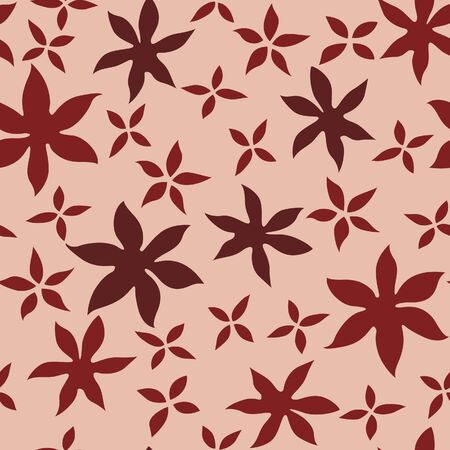 Japanese Flower Leaf Vector Seamless Pattern