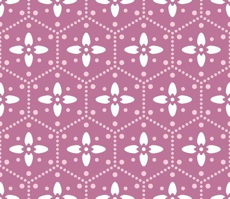 Japanese Pink Hexagon Flower Vector Seamless Pattern