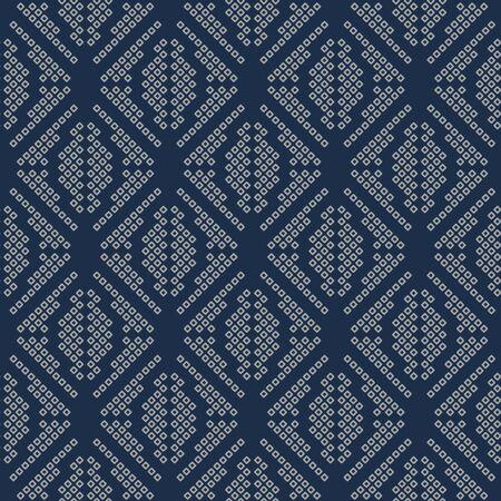 Japanese Tribal Dot Square Vector Seamless Pattern