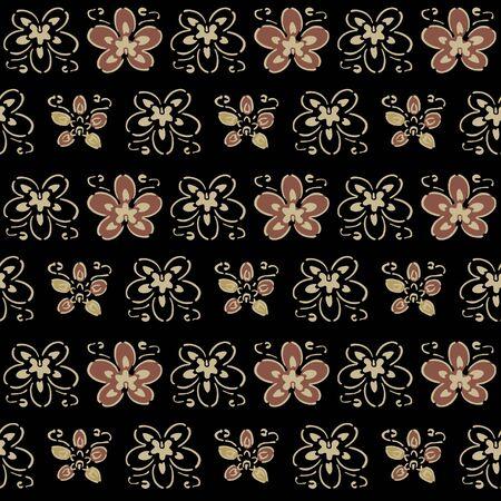Japanese Handdrawn Flower Vector Seamless Pattern