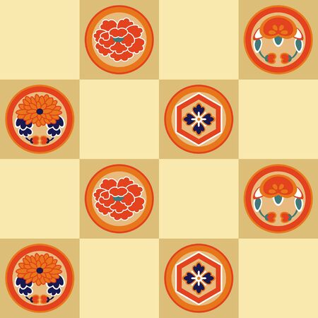Japanese Floral Motif Vector Seamless Pattern
