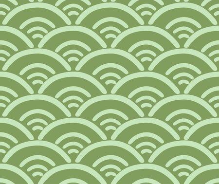 Japanese Green Wave Vector Seamless Pattern 向量圖像