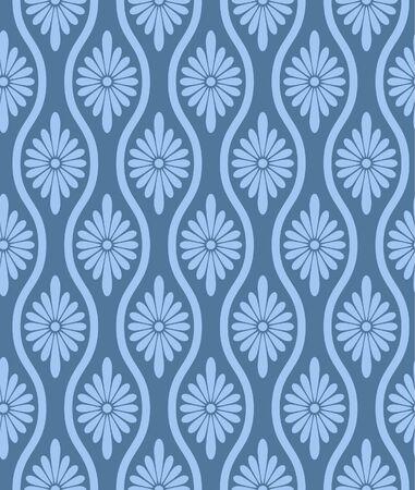 Japanese Flower Loop Line Vector Seamless Pattern
