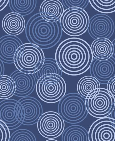 Japanese Overlapping Circle Vector Seamless Pattern