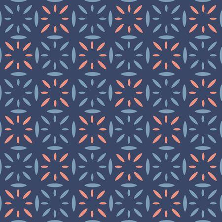Japanese Tribal Flower Vector Seamless Pattern