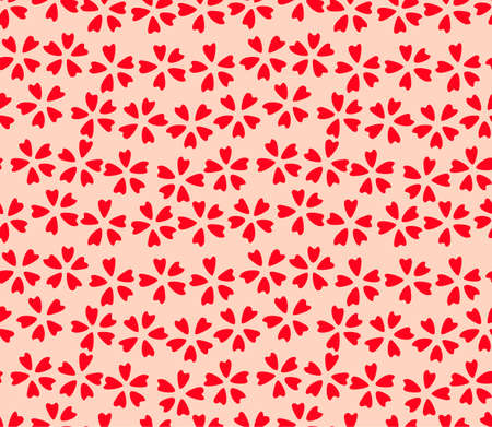 Japanese Small Cute Cherry Blossom Vector Seamless Pattern