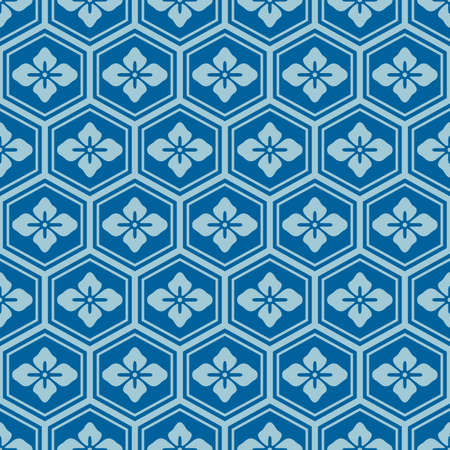 Japanese Blue Flower Hexagon Vector Seamless Pattern