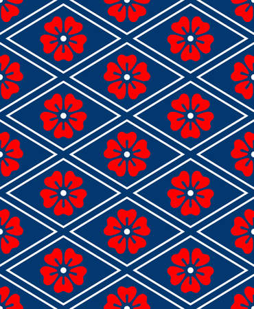 Japanese Cherry Bloossom Diamond Vector Seamless Pattern 向量圖像