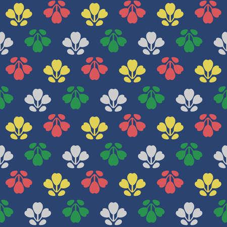 Japanese Cute Colorful Flower Vector Seamless Pattern 向量圖像
