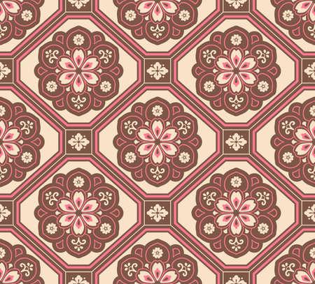 Japanese Luxury Flower Motif Vector Seamless Pattern Illusztráció