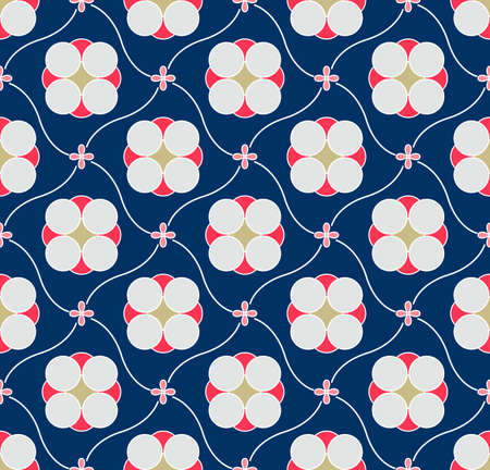 Japanese Curve Flower Diamond Vector Seamless Pattern