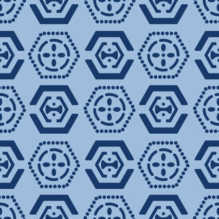 Japanese Tribal Hexagon Vector Seamless Pattern
