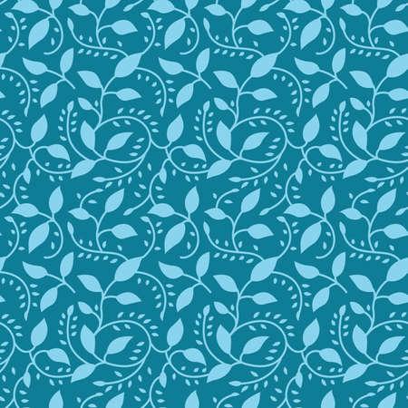 Japanese Leaf Vine Vector Seamless Pattern
