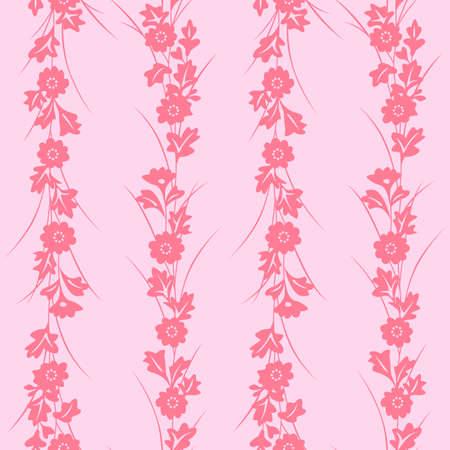 Japanese Pink Flower Vine Vector Seamless Pattern