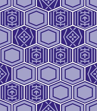 Japanese Hexagon Mosaic Vector Seamless Pattern Illusztráció