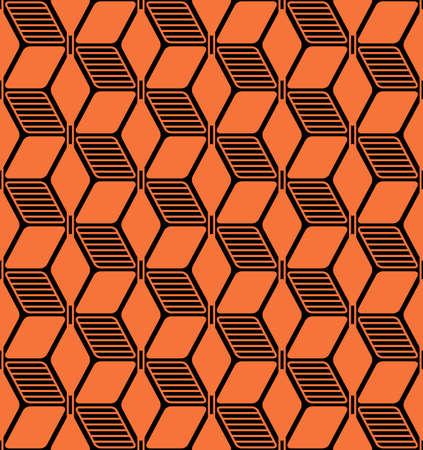 Japanese Orange Cubic Vector Seamless Pattern