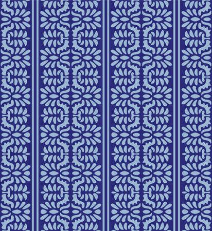 Japanese Flower Motif Stripe Vector Seamless Pattern