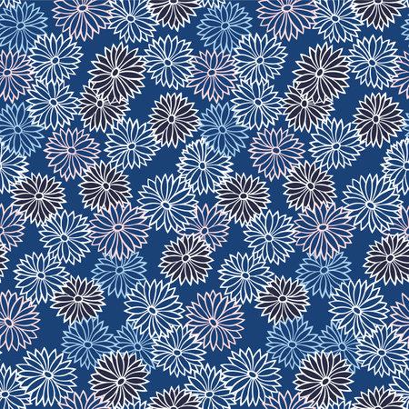 Japanese Cute Pastel Flower Vector Seamless Pattern Illusztráció