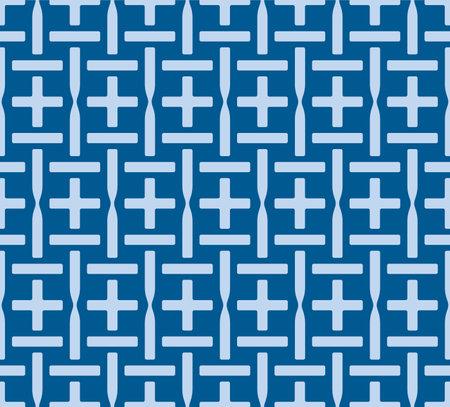 Japanese Grid Cross Vector Seamless Pattern