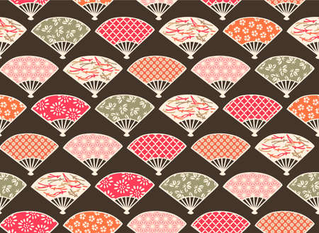 Japanese Colorful Fan Vector Seamless Pattern