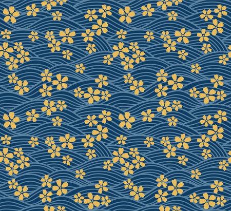 Japanese Luxury Cherry Blossom Wave Vector Seamless Pattern