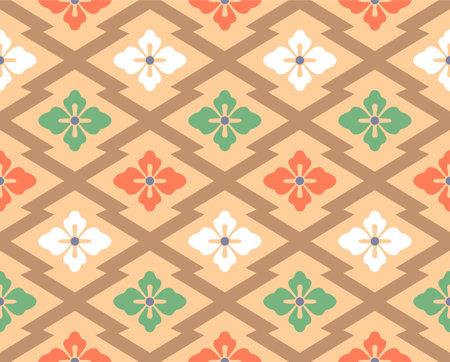 Japanese Flower Zigzag Tile Vector Seamless Pattern Illusztráció