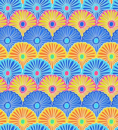Japanese Colorful Flower Vector Seamless Pattern Illusztráció