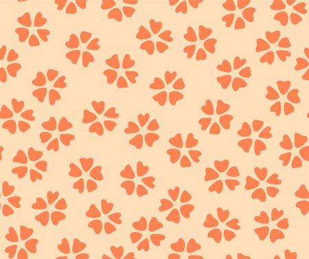 Japanese Cute Orange Cherry Blossom Vector Seamless Pattern