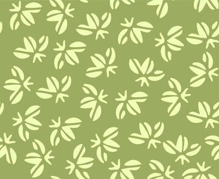 Japanese Tropical Green Leaf Vector Seamless Pattern