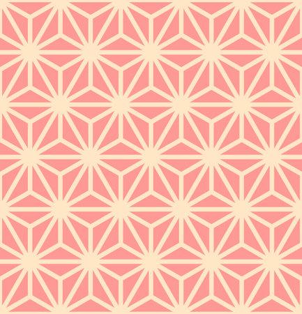 Japanese Pink Hexagon Star Vector Seamless Pattern