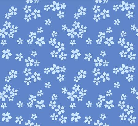 Japanese Blue Cherry Blossom Vector Seamless Pattern Illusztráció