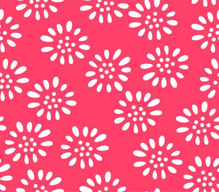 Japanese Cute Red Flower Vector Seamless Pattern