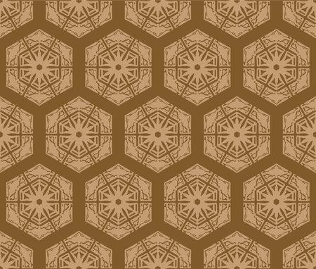 Japanese Brown Snowflake Vector Seamless Pattern Illusztráció