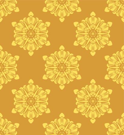 Japanese Yellow Snowflake Vector Seamless Pattern Illusztráció