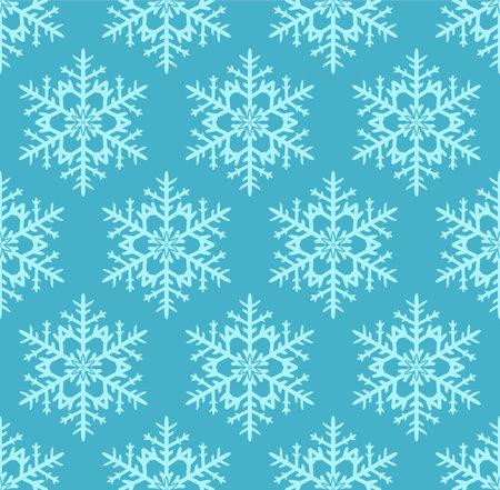Japanese Blue Snowflake Vector Seamless Pattern