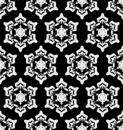 Japanese Black Snowflake Vector Seamless Pattern